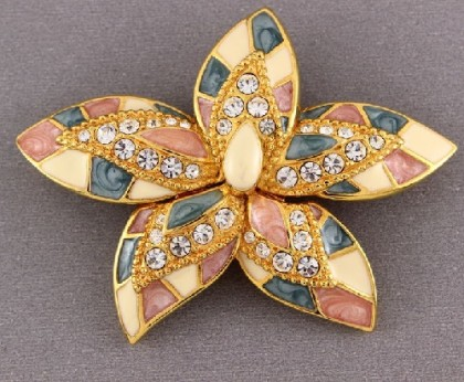Flower brooch. Enamel, jewelry alloy, crystals