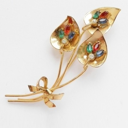 Large brooch, Coro marked, sterling silver, gold-plated, beginning 40s