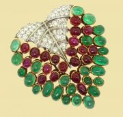 Leaf brooch of precious stones