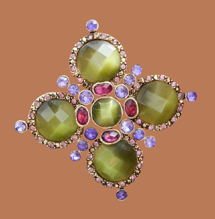 Maltese cross brooch. Green, purple, burgundy crystals, 5 cm