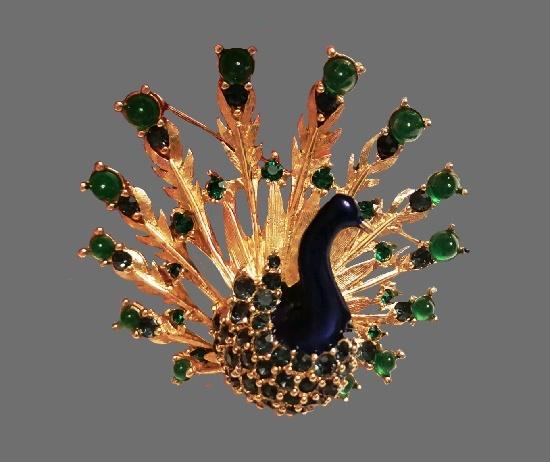 Peacock brooch. Gold tone alloy, enamel, rhinestones, glass cabochons. 5 cm. 1960s