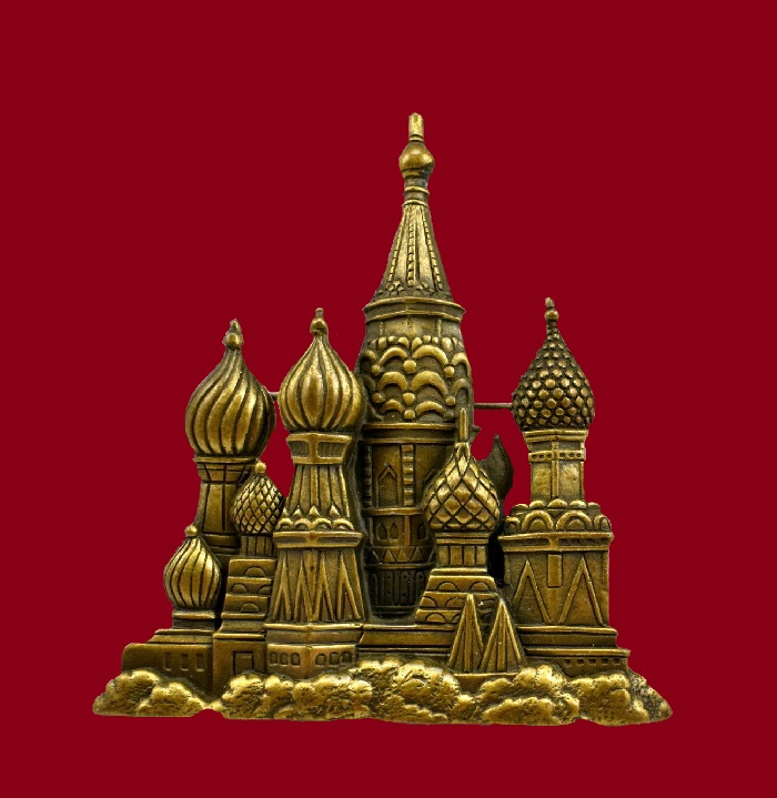 St. Basil's Cathedral brooch. Pewter. 6.8 cm