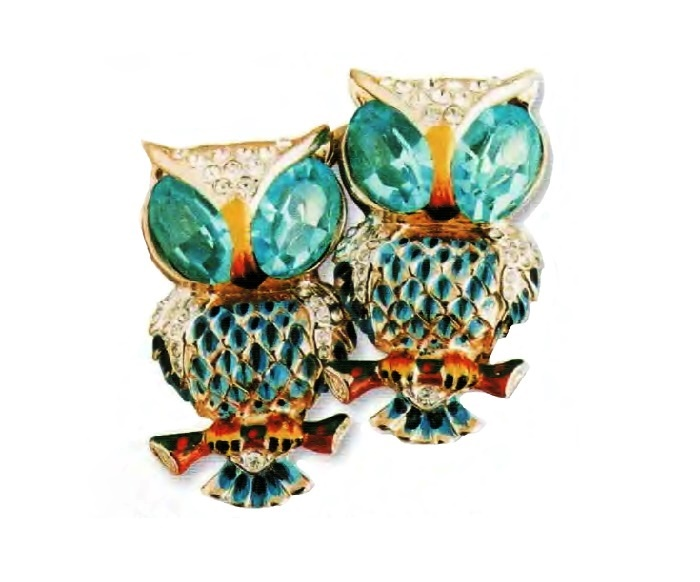 Owls. gilded silver, blue enamel, aquamarine and transparent rhinestone. 1940s 3.75 cm £ 150-170 CRIS