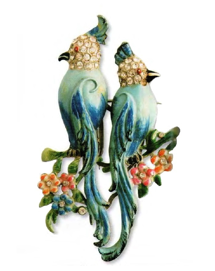 Parrots. Metal. green, blue and pink enamel, transparent rhinestone. 1940s 6.25 cm £ 100-135 ABIJ