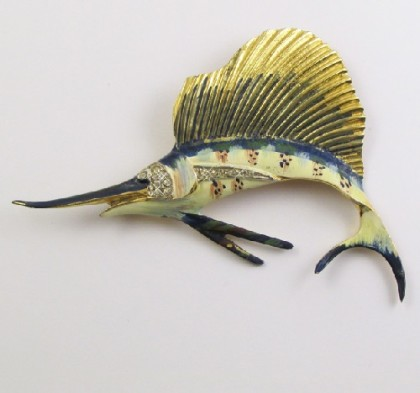 Blue Marlin Silver brooch by Coro, vintage 40s