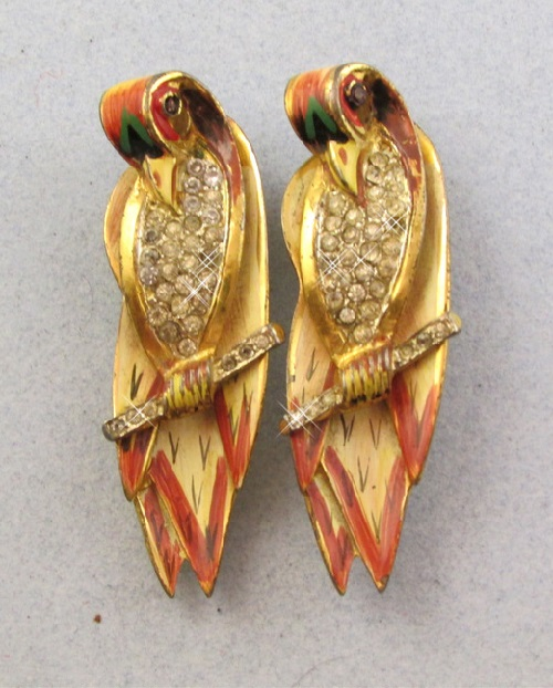 'Parrots' Silver duet by Coro, vintage 40s