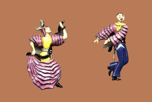 Spanish dancers brooches by Coro
