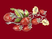 Strawberry enameled vintage brooch