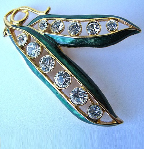 Pea pod with translucent green enamel and rhinestones-peas