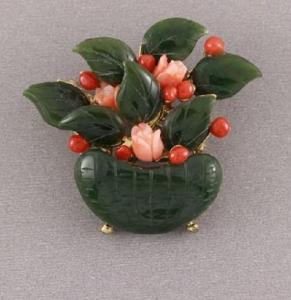 Jade Vase with Flowers