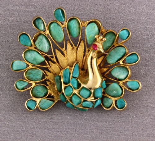 Turquoise peacock, brooch