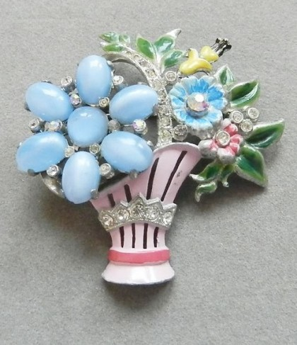 Flowers in a basket brooch Coro