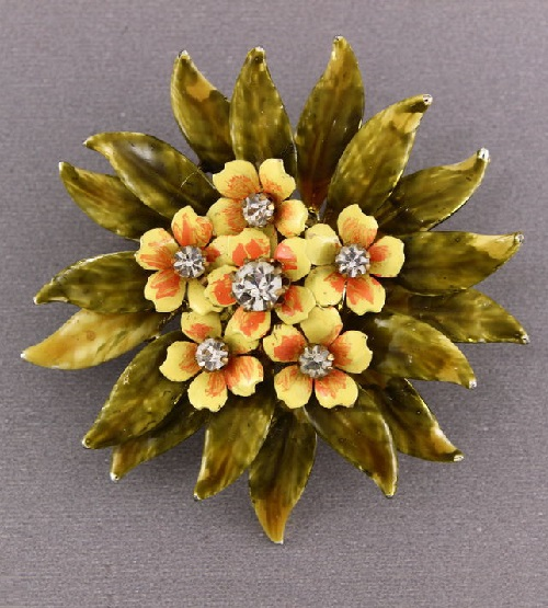 Yellow flowers brooch, marked Coro