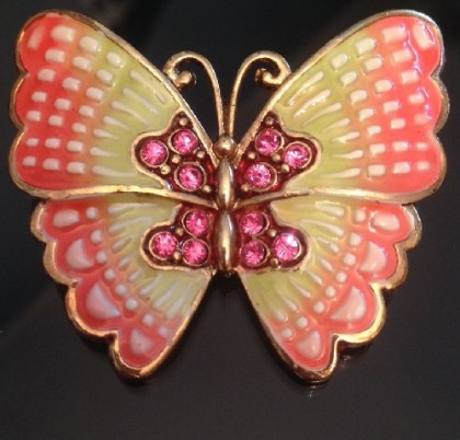 Enameled butterfly brooch