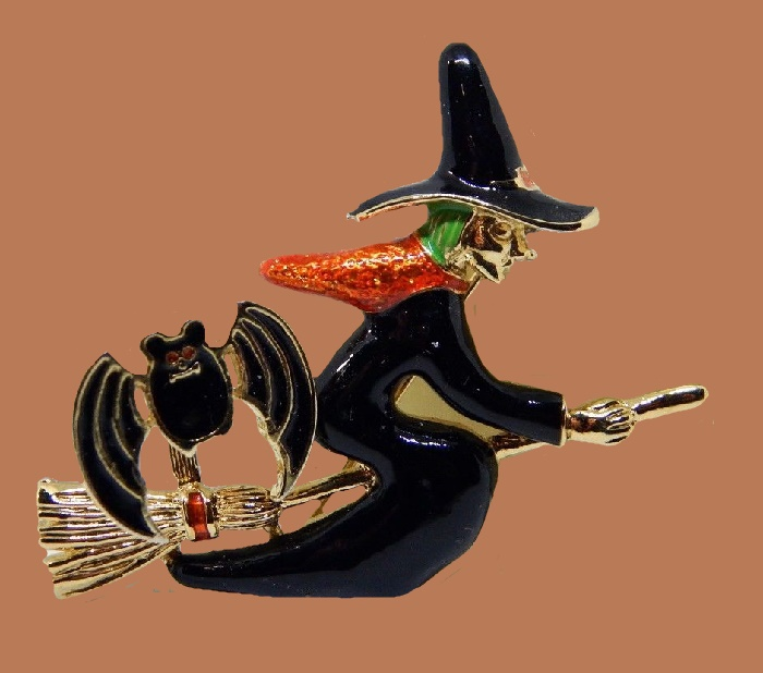Witch on a broom, Halloween brooch. Enamel, jewelry alloy of gold tone. 5.5 cm