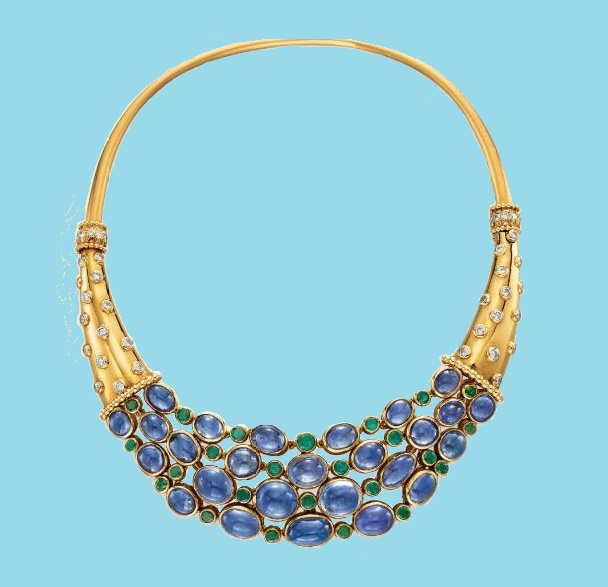 Yellow gold, diamond and blue stones necklace