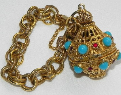 Rare bracelet with Locket, gilded antiques