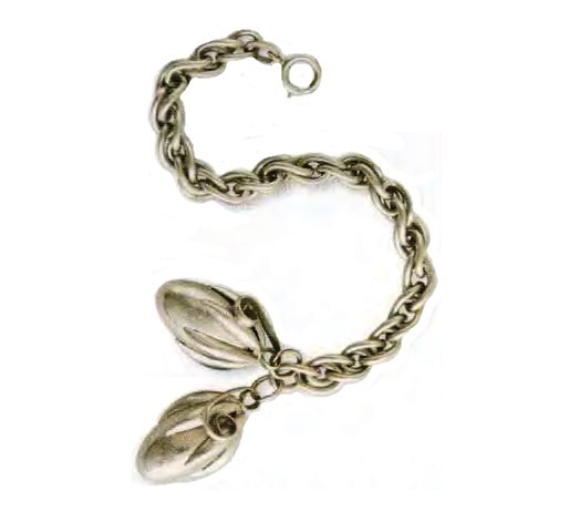 Bracelet with pendants in the form of fruit. Chain made of metal silver tone. The end of the 1950s. Bracelet 20.25 cm, fruit 3.75 cm. £ 75-95 CRIS