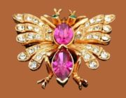 Butterfly brooch. Jewellery alloy, rhinestones