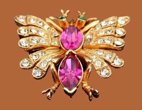 Butterfly brooch. Jewellery alloy, rhinestones