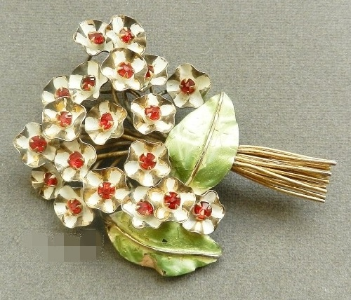 Bouquet brooch, marked Sandor Sterling, Sterling silver, gilding, enamel, crystals, mid-40s