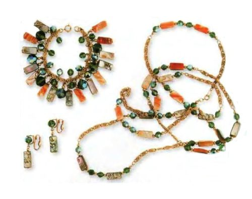 Ethnic style Necklace, bracelet and earrings. Gold inserts, beads of different colors and shapes. 1960s necklace 152.5 cm, Bracelet 17.75 cm, Earrings 3.75 cm. £ 80-95 ABIJ