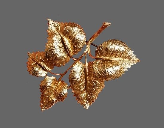 birch branch with leaves brooch. Gold tone textured metal. 1970s