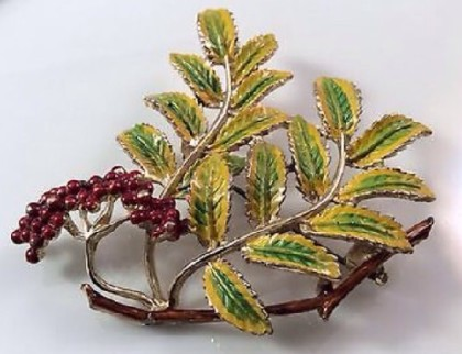 Rowan Vintage brooch, Exquisite. England, 1950s. The collection 'Leaves and trees'