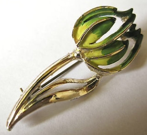 Tulip. Signed Exquisite Vintage brooch