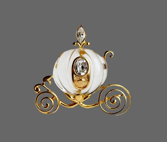 Cinderella's carriage gold tone art glass brooch