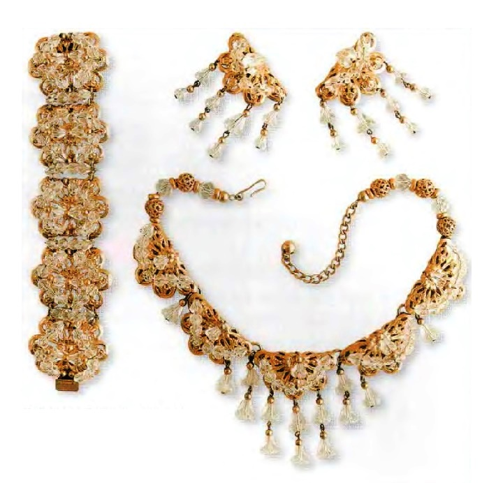 Necklace, bracelet and earrings. Metal, gilding, filigree, transparent rhinestone. Mid 1950s. Circumference 41 cm, Bracelet 19 cm, earrings 7 cm £ 100-125 CRIS