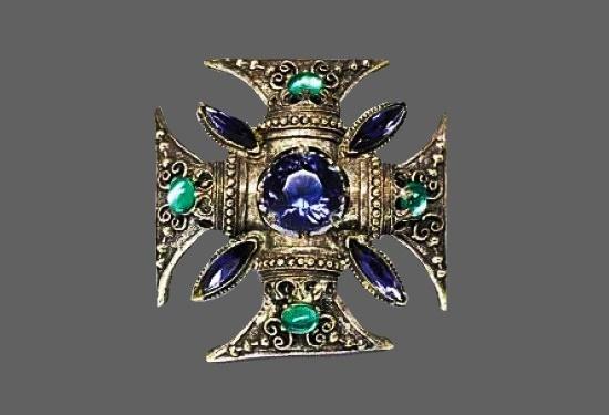 Maltese cross pendant. Silver tone metal alloy, rhinestones. 7 cm. 1960s