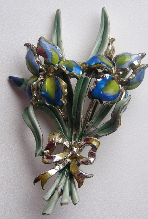 Irises Vintage Brooch, England 45-50s
