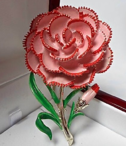 'Carnation' brooch, England, 1950s. From a series of birthday flower brooches. This brooch corresponds to October
