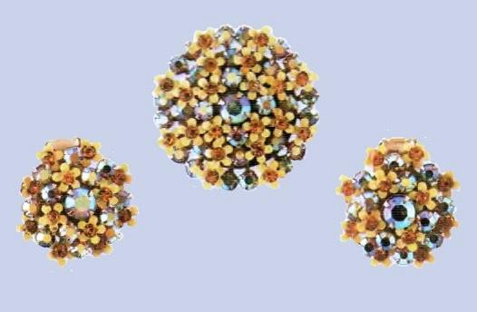 1950s earrings and brooch. Yellow enamel, rock crystal. £ 50-55 JJ