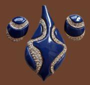 1960s set Rhinestones, jewellery resin brooch and earrings