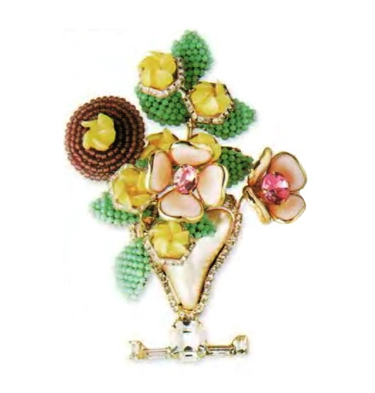 A bouquet of flowers brooch. Metal, gilding, mother of pearl, glass, pink rhinestone. The end of the 1990s. 11.5 cm. £ 150-200 CRIS