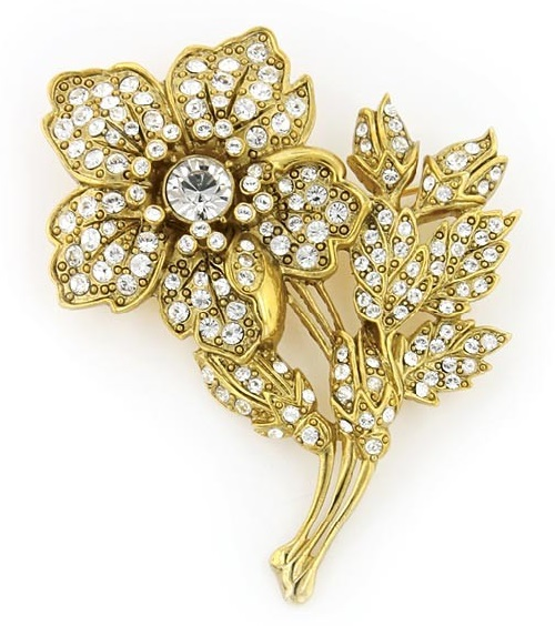 Flower Brooch. Antiquities Couture Gold-Tone Crystal