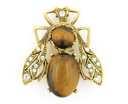 Bee Pin. Couture Gold-Tone Tiger's Eye