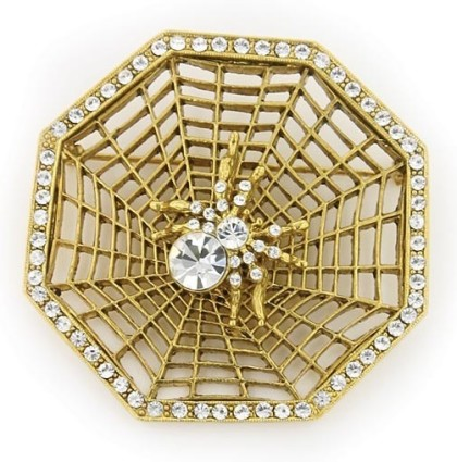 Victorian Spider & Web Brooch, Antiquities Couture Gold-Tone