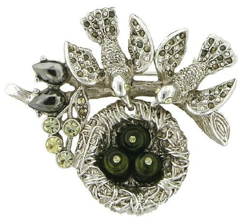Bird nest love brooch. Antiquities Couture Silver-Tone