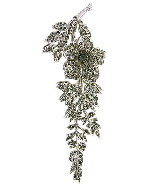 Wild Rose Brooch antiquities Couture Silver-Tone Marcasite
