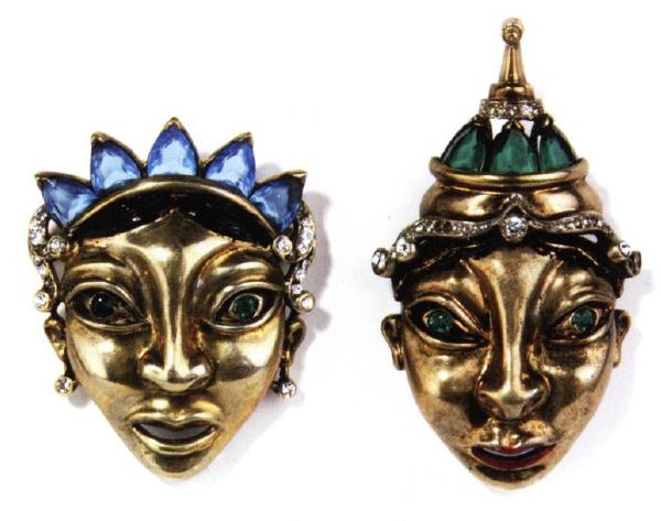 Balinese masks brooches. 1945