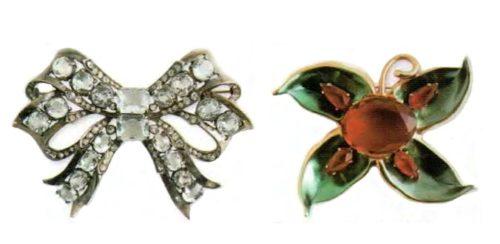 Bow brooch. Rhodium plated metal, Swarovski crystal clear crystal. Early 1940s. 9 cm. £ 165-200 ABIJ. Flower brooch. Metal, gilding, molten glass, cabochon made of Austrian crystal, ruby rhinestone. 1940. 10 cm £ 650-750 SUM