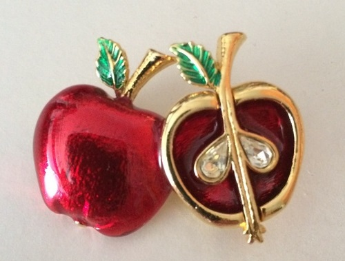 Red and gold Apple brooch