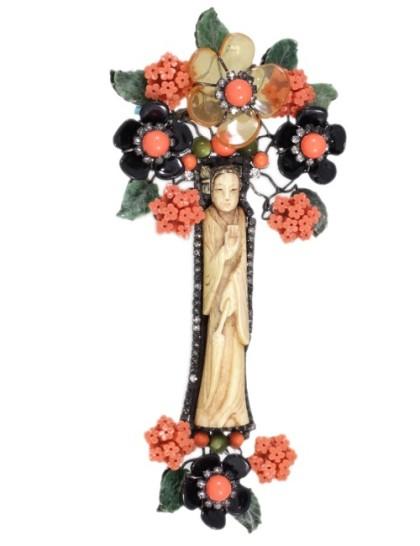 Tree Brooch handmade ivory and glass Larry Vrba