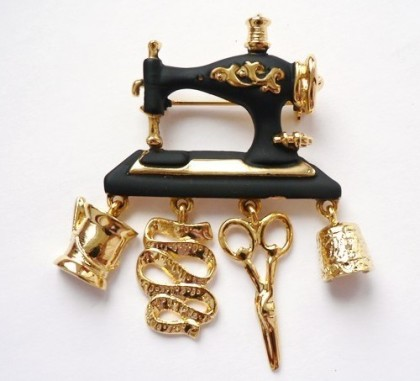 Galina Karputina collection. Brooch vintage sewing machine, Danecraft