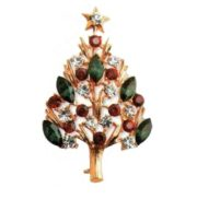 Christmas Brooch, Eisenberg Ice. Metal, gilding, rhinestone, emerald-colored glass. 1980's. 5,5 cm £ 25-30 CRIS