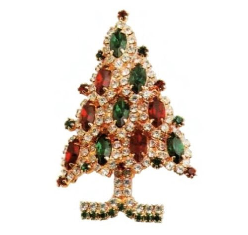 Christmas Brooch, Eisenberg Ice. Transparent, ruby and emerald rock crystal. 1980's. 6 cm £ 45-50 CRIS