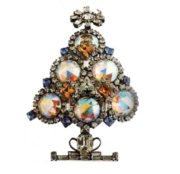 Christmas Brooch, Larry Vrba. Rhinestone aurora borealis, transparent and blue crystals. 1990s. 11.5 cm £ 80-120 CRIS
